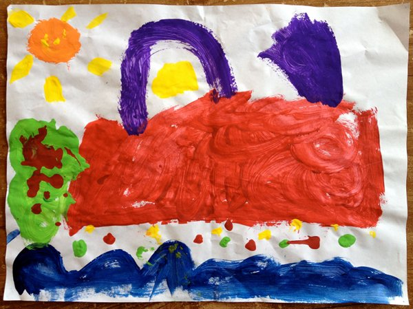 The catamaran that picked us up as painted by my five year old daughter at school a few days afterwards
