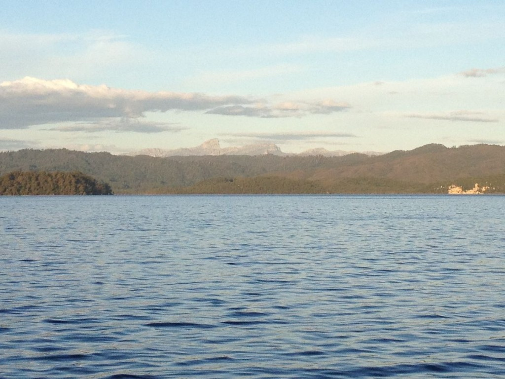 A distant Frenchmans Cap from Macquarie Harbour